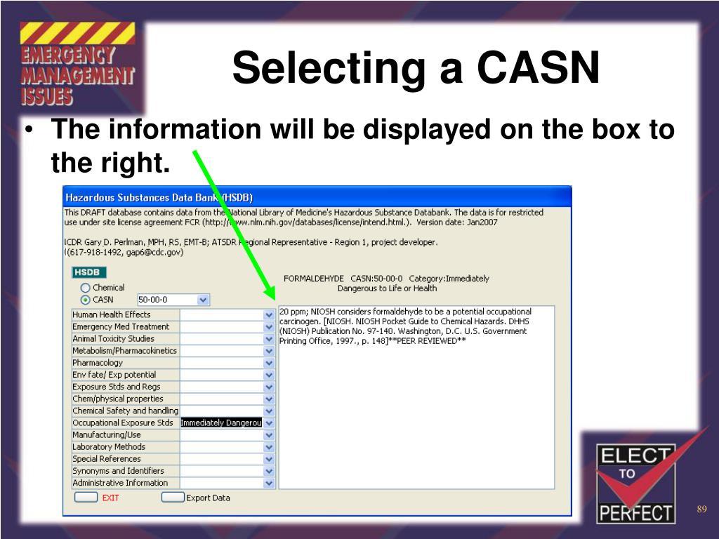 Selecting a CASN