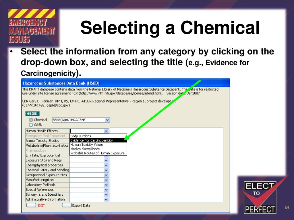 Selecting a Chemical