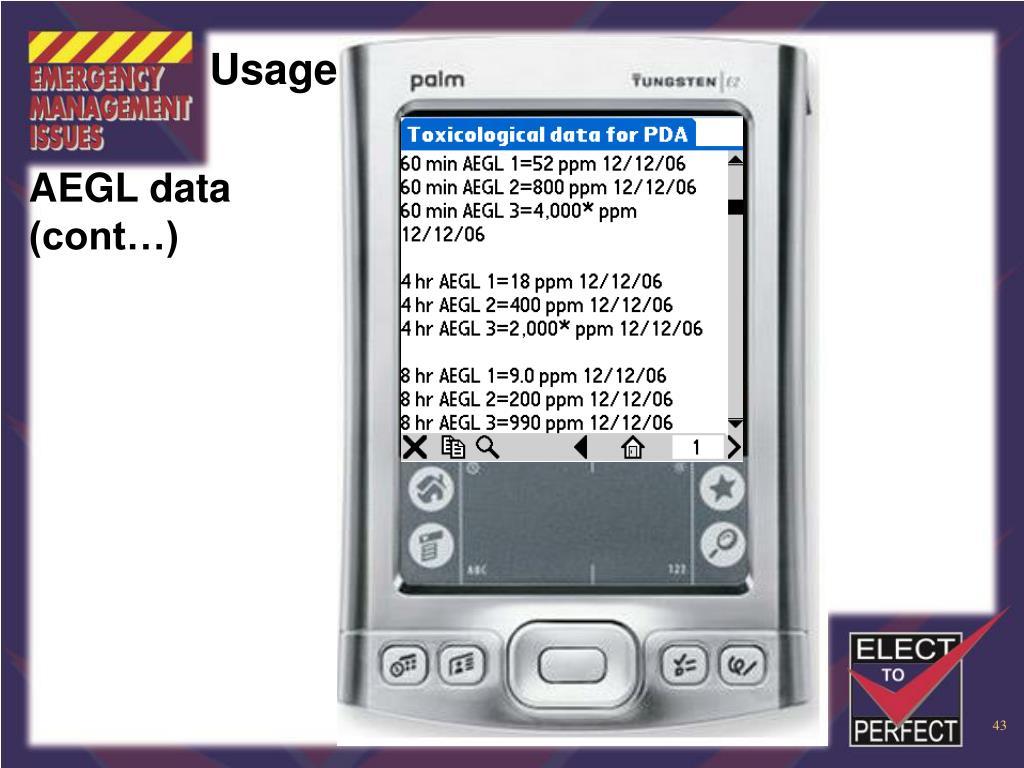 AEGL data (cont…)