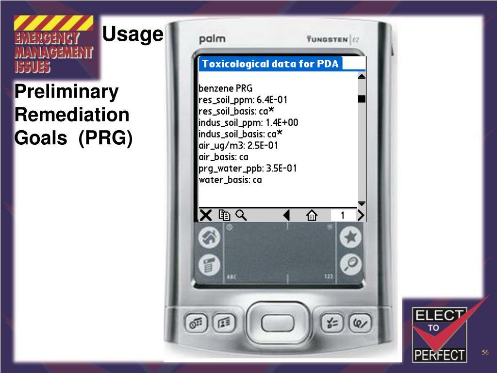 Preliminary Remediation Goals  (PRG)