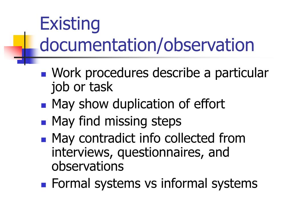 Existing documentation/observation