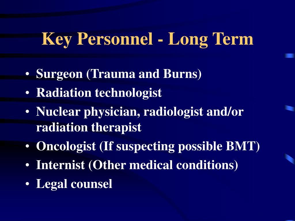 Key Personnel - Long Term