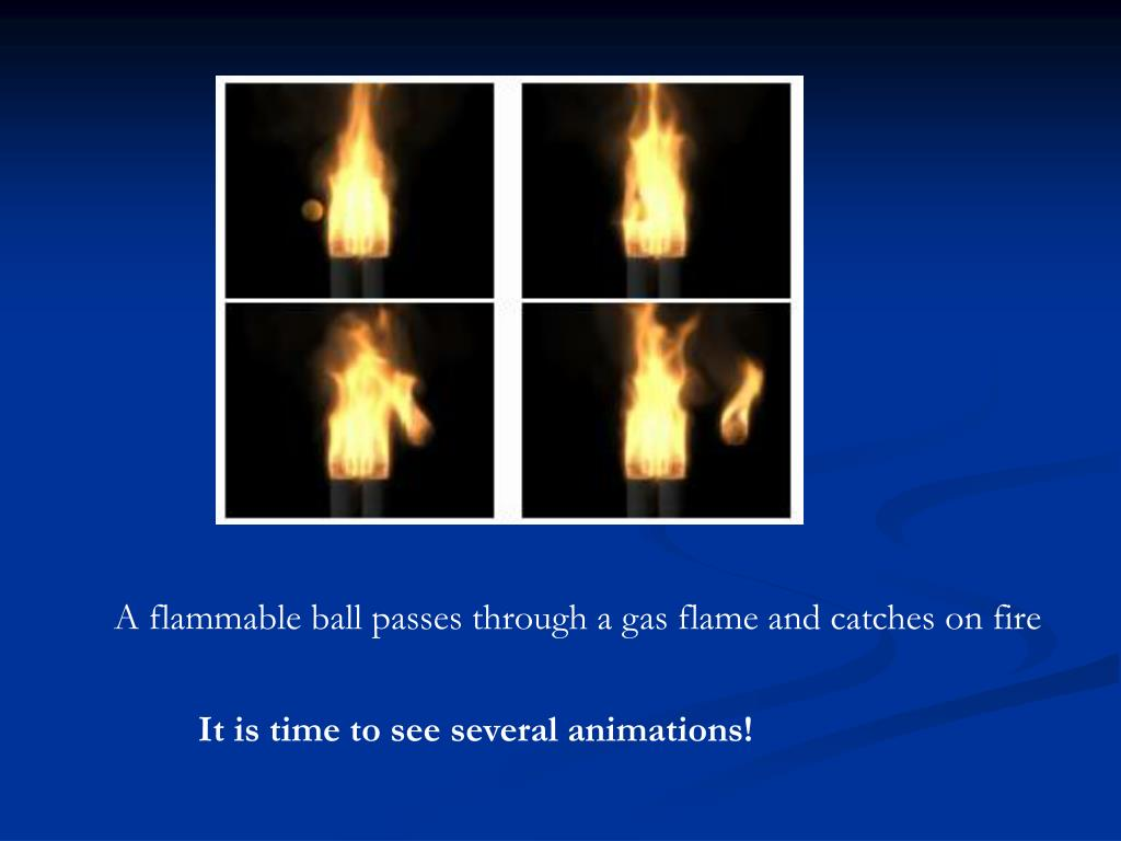 A flammable ball passes through a gas flame and catches on fire