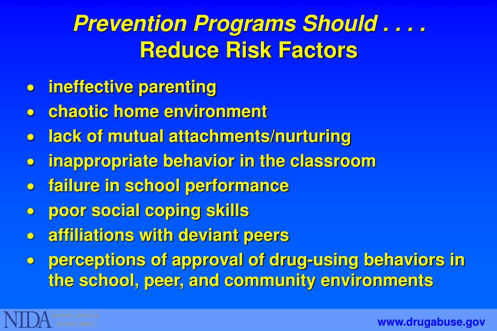 Prevention Programs Should . . . .