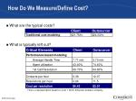 how do we measure define cost