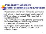 personality disorders cluster b dramatic and emotional