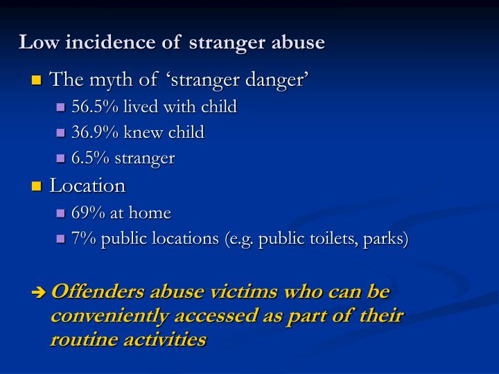 Low incidence of stranger abuse