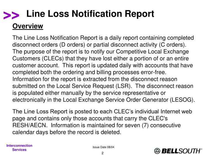Line loss notification report2