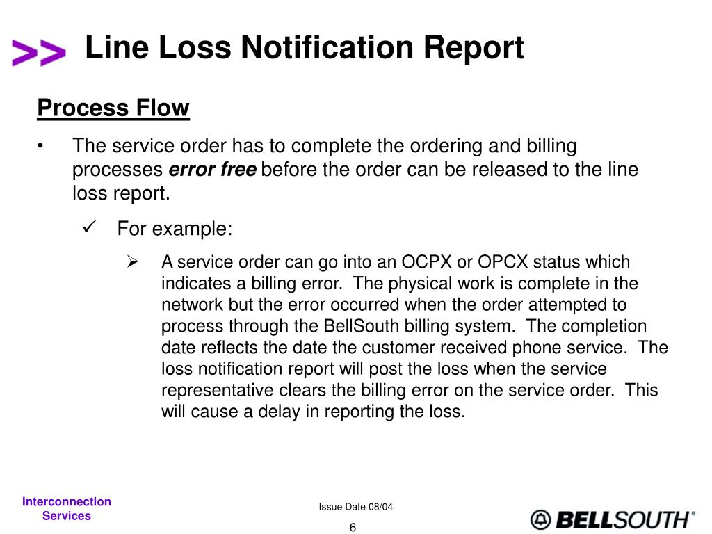 Line Loss Notification Report