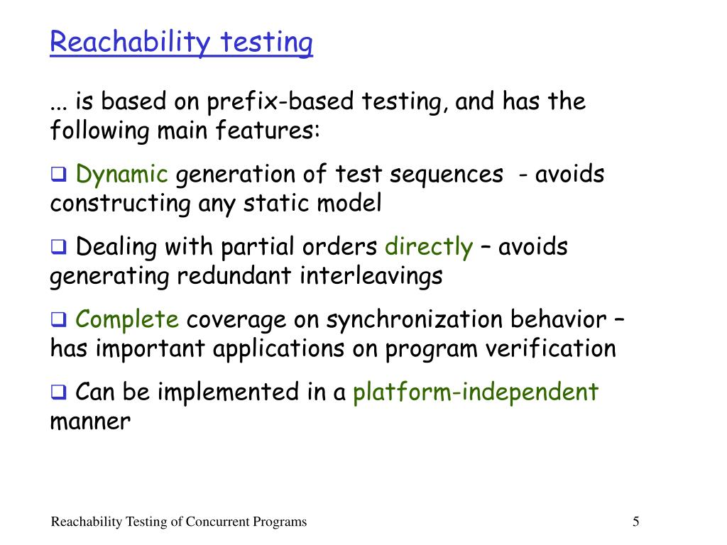 Reachability testing