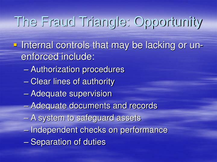The Fraud Triangle: Opportunity