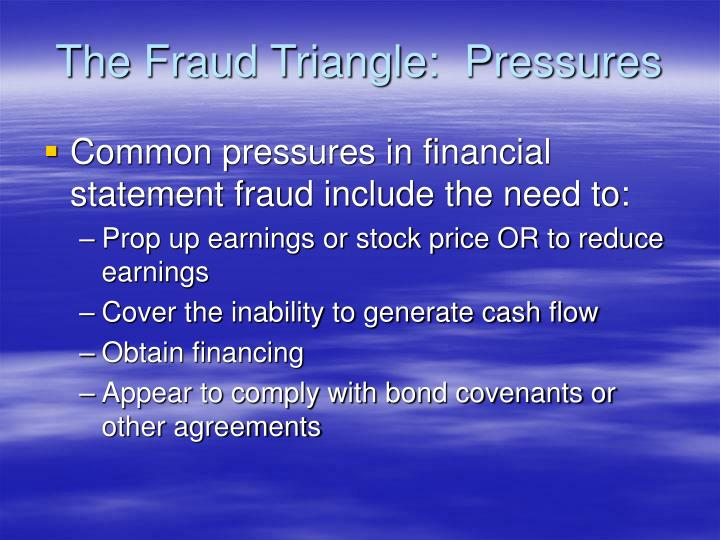 The Fraud Triangle:  Pressures