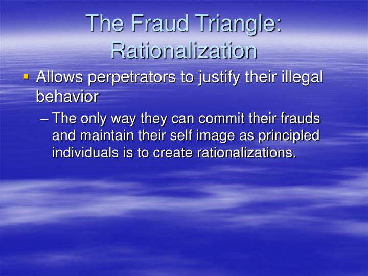 The Fraud Triangle: Rationalization