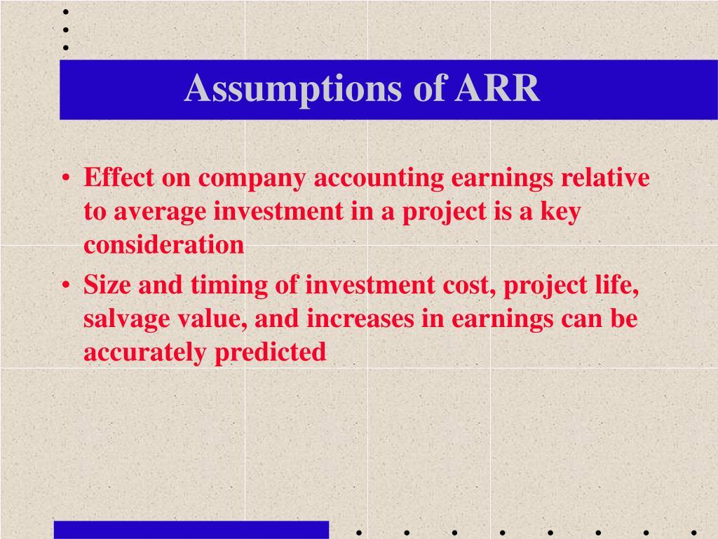 Assumptions of ARR