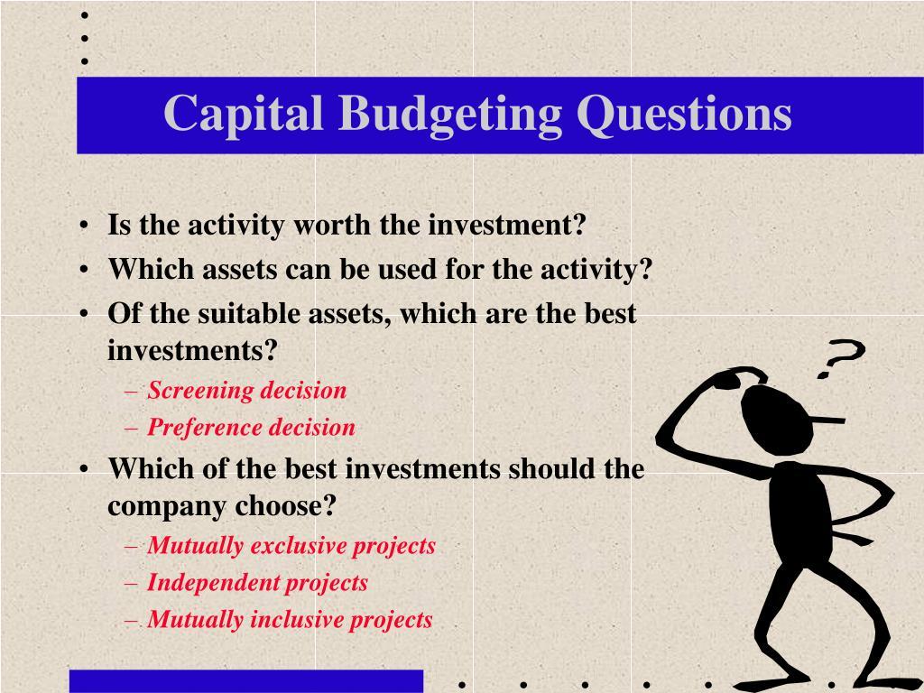 Capital Budgeting Questions