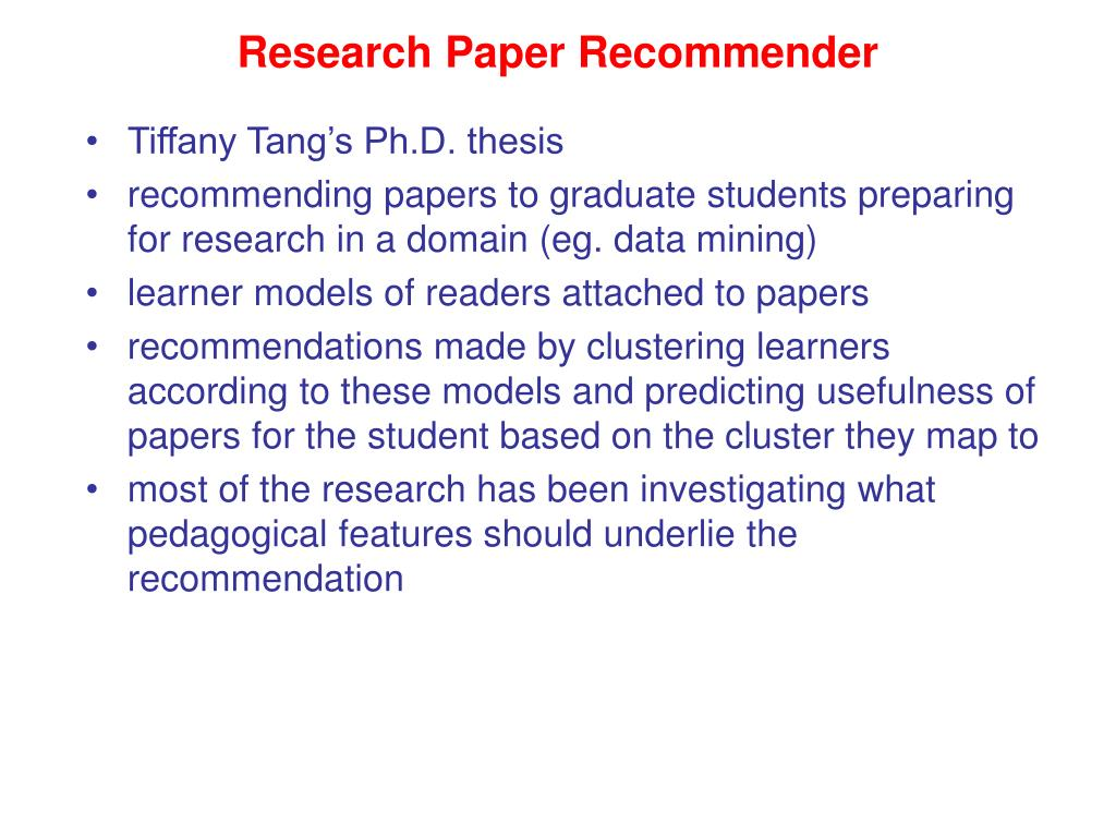 Research Paper Recommender
