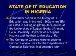 state of it education in nigeria