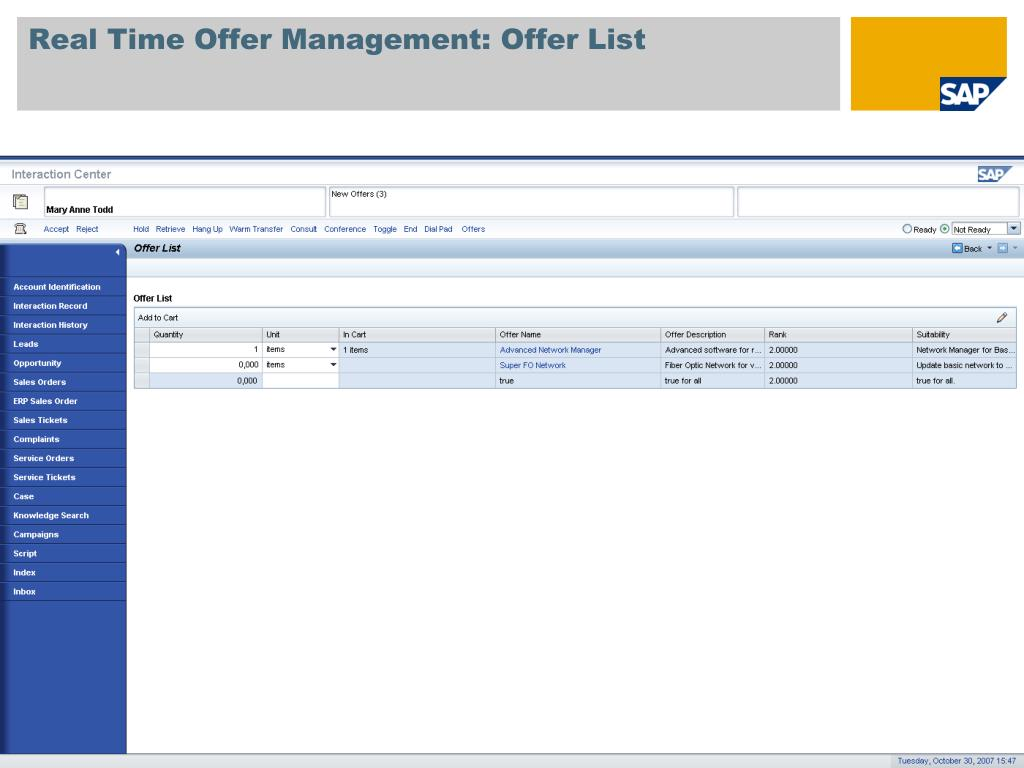 Real Time Offer Management: Offer List