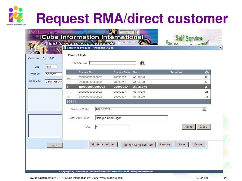 Request RMA/direct customer