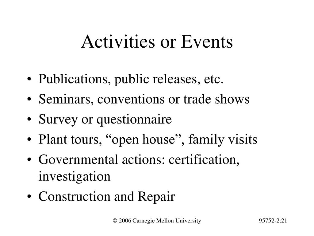 Activities or Events