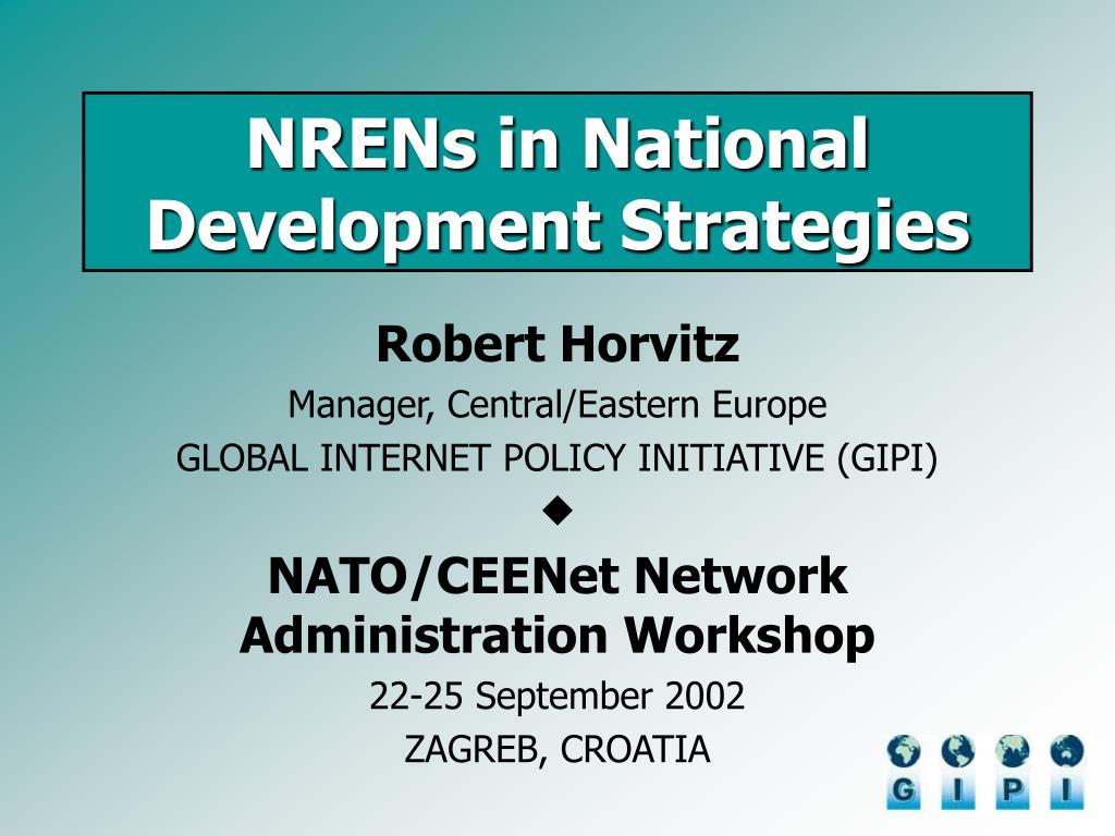 nrens in national development strategies l.
