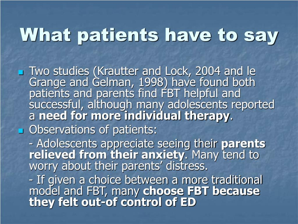 What patients have to say