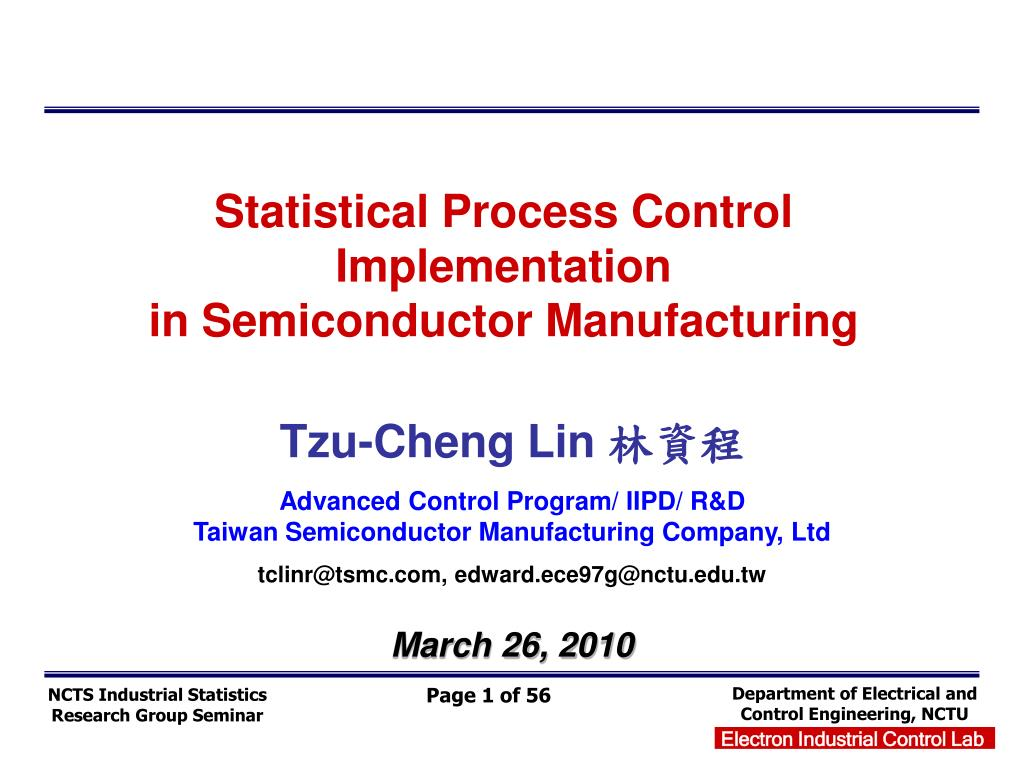 statistical process control implementation in semiconductor manufacturing l.