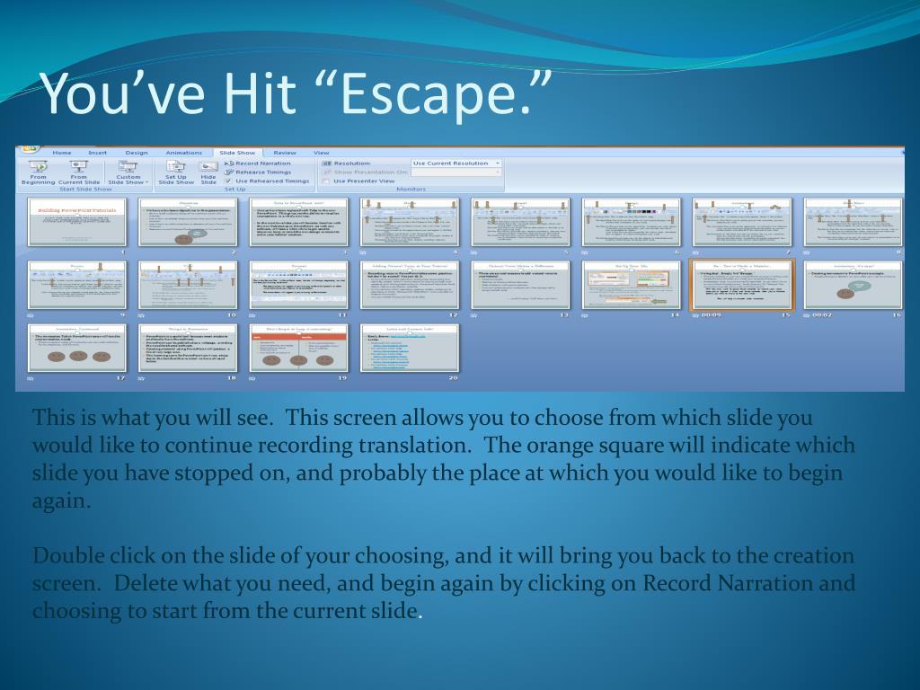 """You've Hit """"Escape."""""""