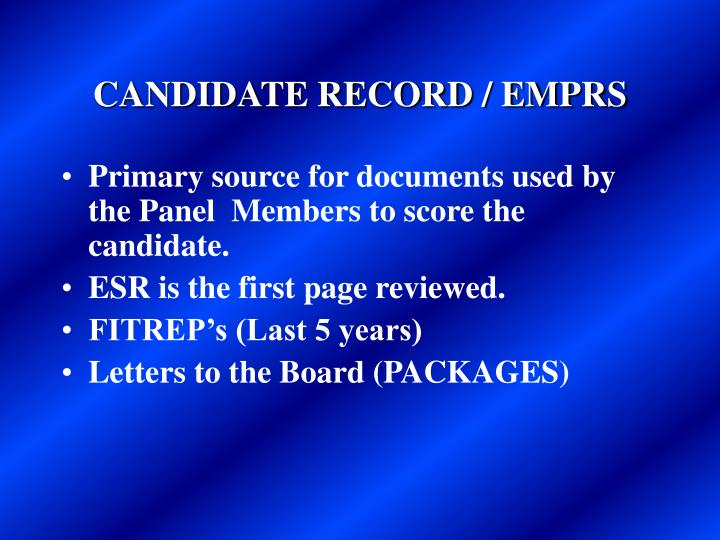 CANDIDATE RECORD / EMPRS