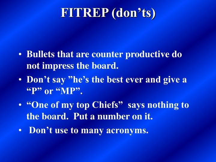 FITREP (don'ts)