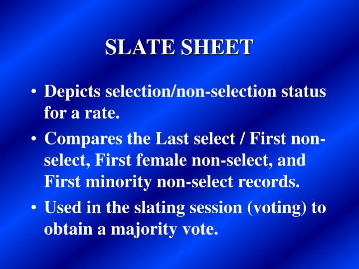 SLATE SHEET