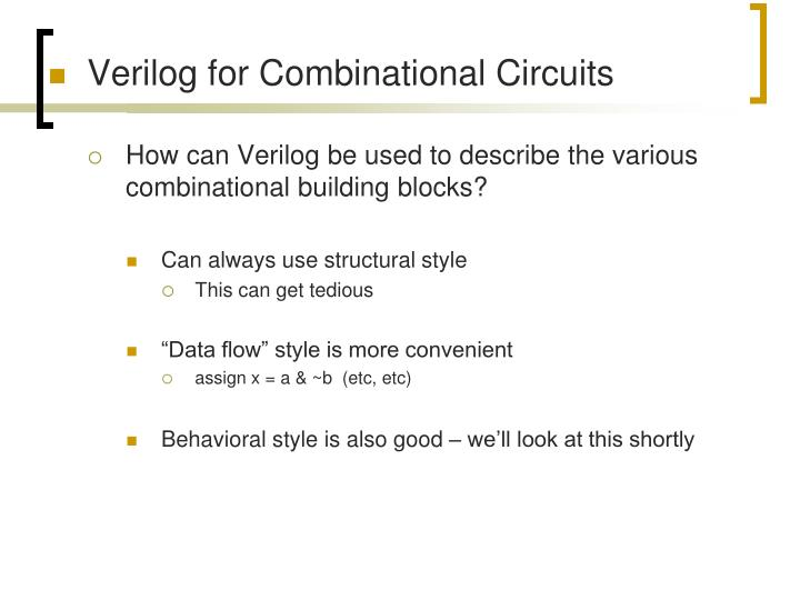 Verilog for Combinational Circuits