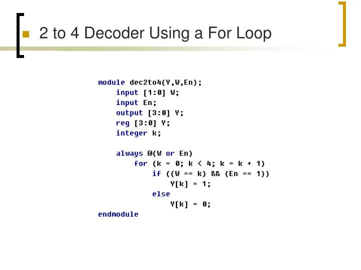 2 to 4 Decoder Using a For Loop