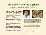 let s explore a few camp highlights expert trail guide chats