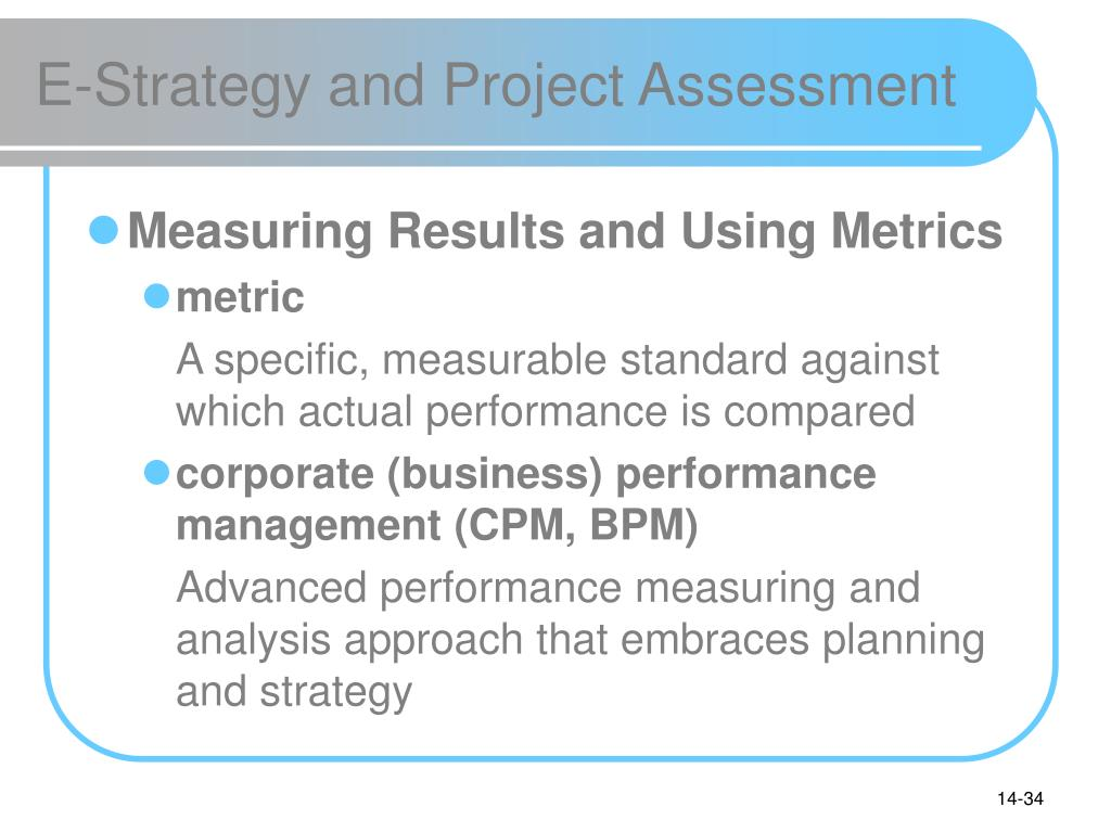 E-Strategy and Project Assessment