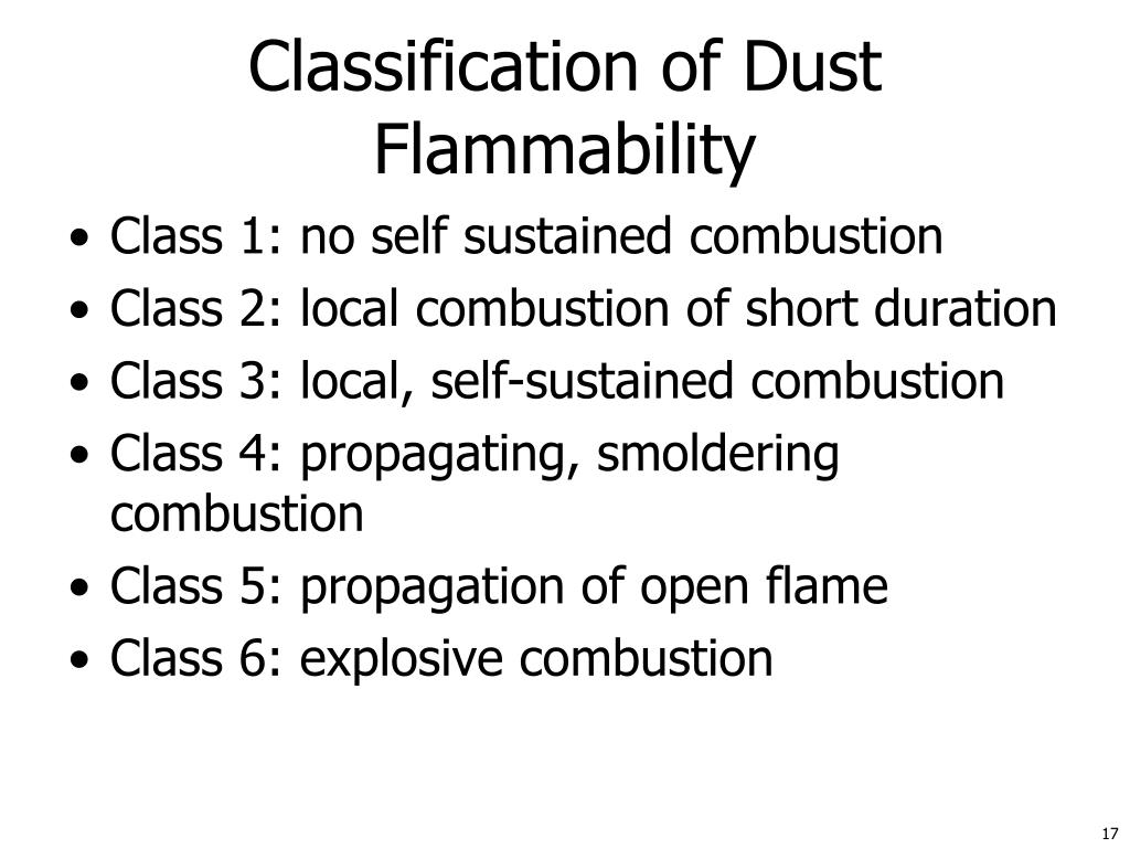 Classification of Dust Flammability