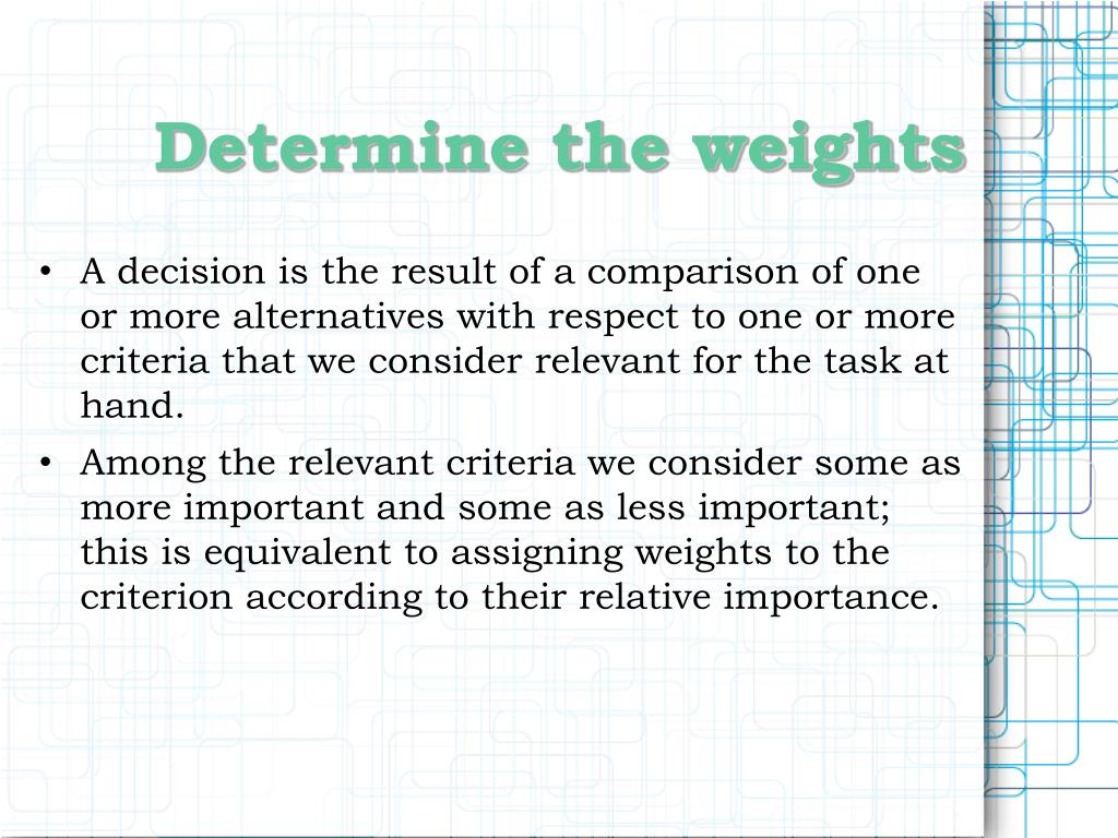 Determine the weights