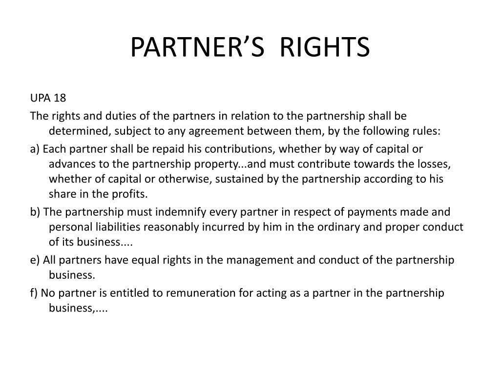 PARTNER'S  RIGHTS