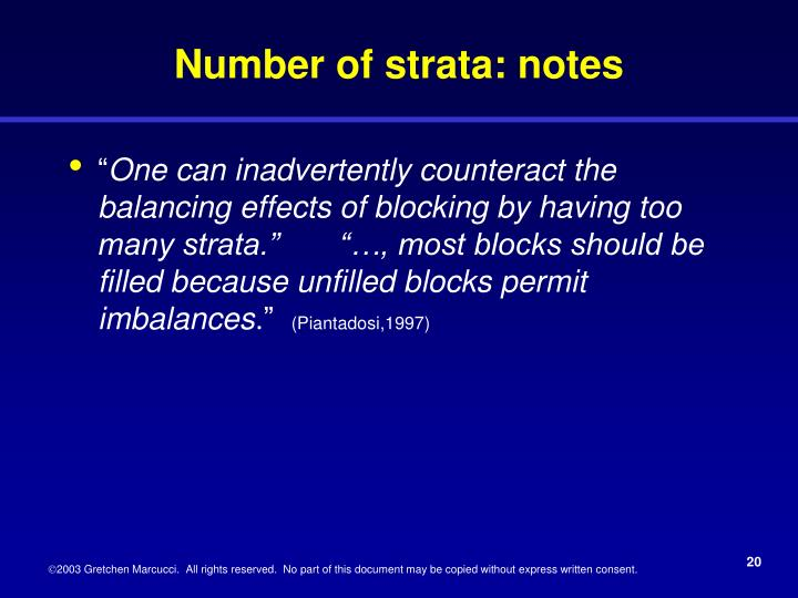 Number of strata: notes