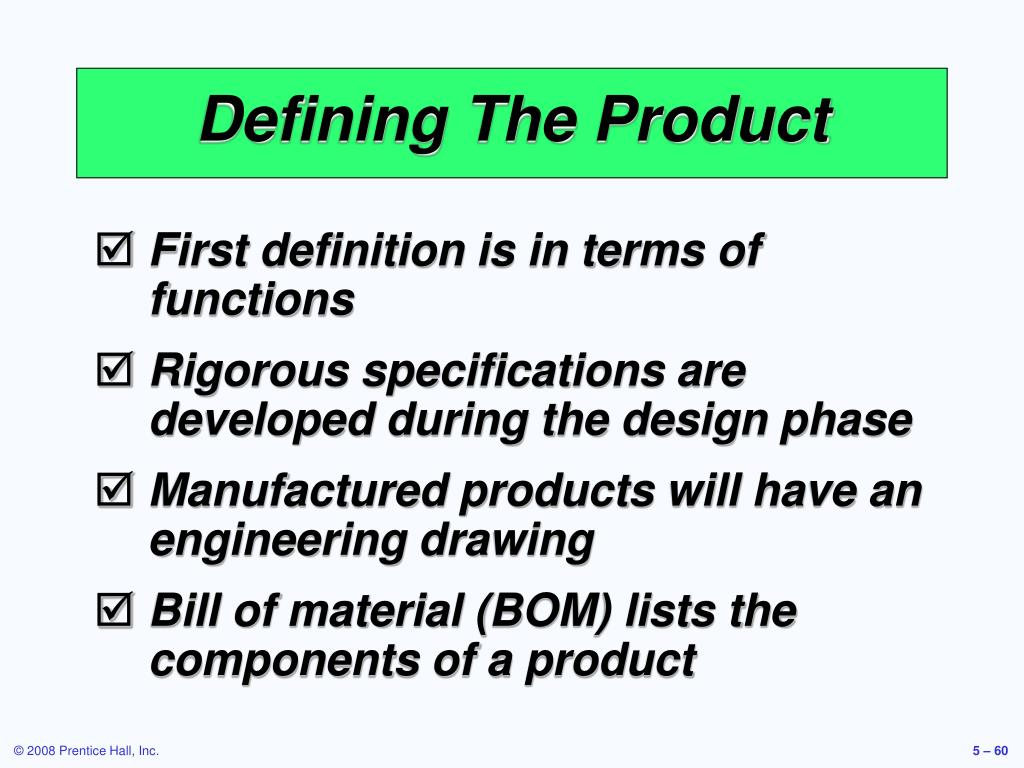 Defining The Product
