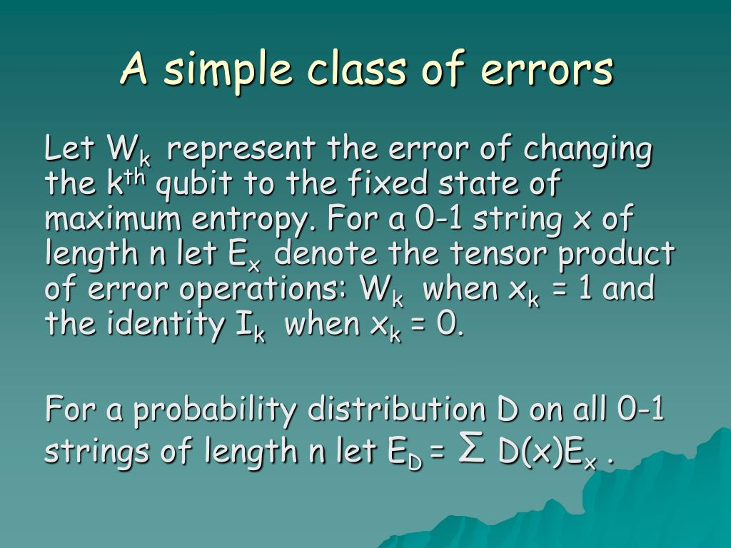 A simple class of errors
