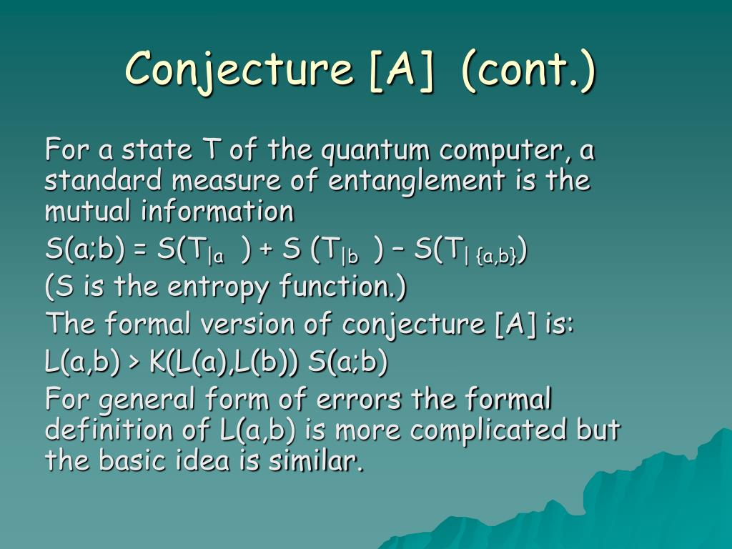 Conjecture [A]  (cont.)
