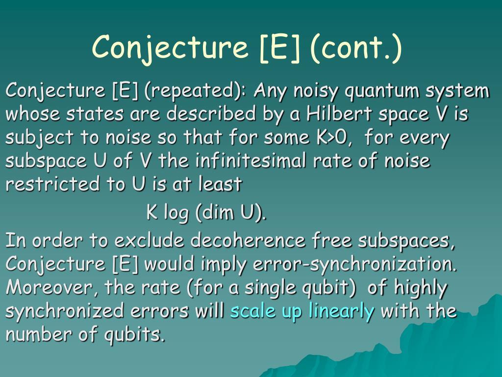 Conjecture [E] (cont.)