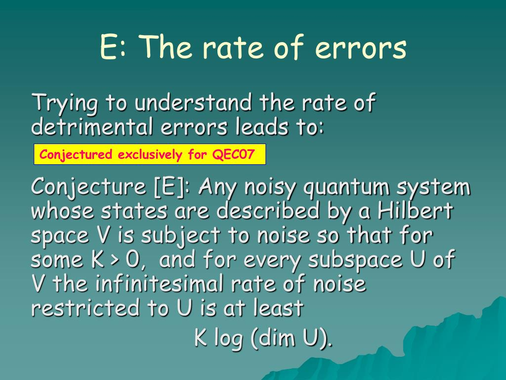 E: The rate of errors