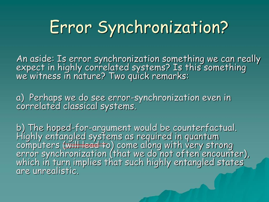 Error Synchronization?