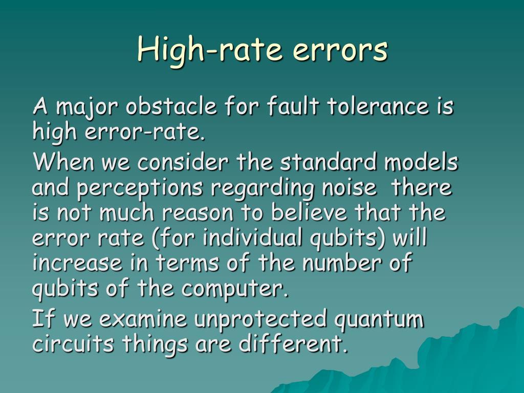 High-rate errors