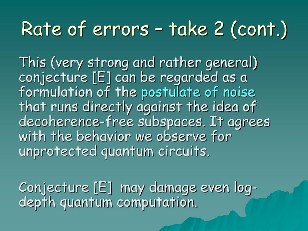 Rate of errors – take 2 (cont.)