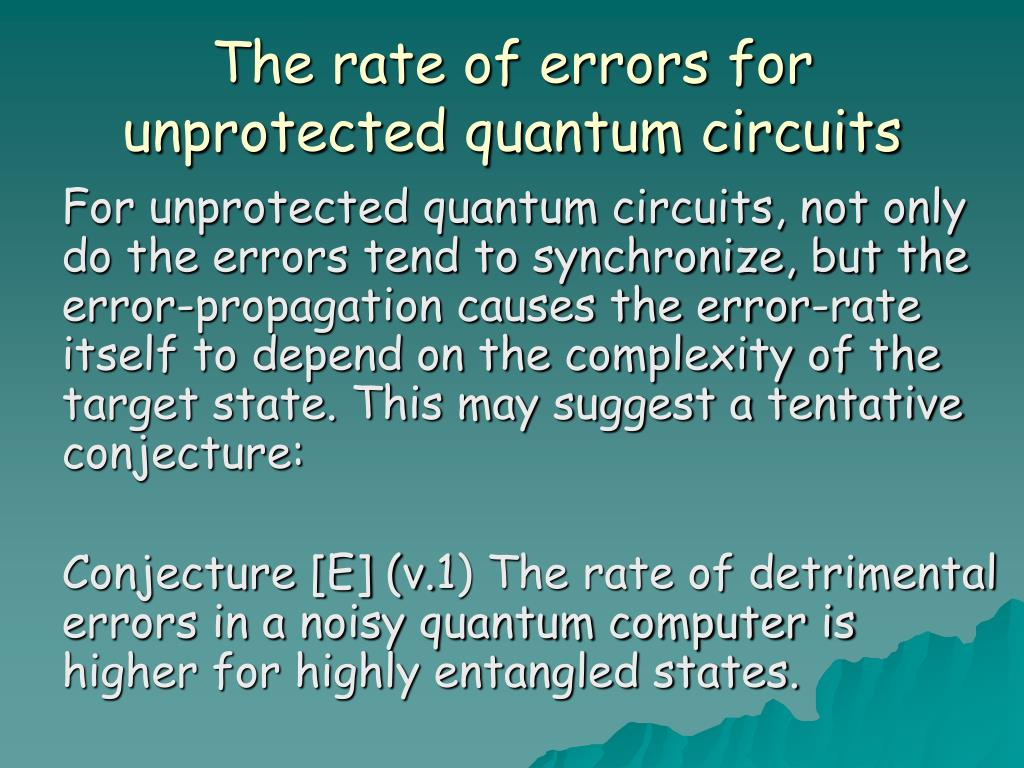 The rate of errors for unprotected quantum circuits