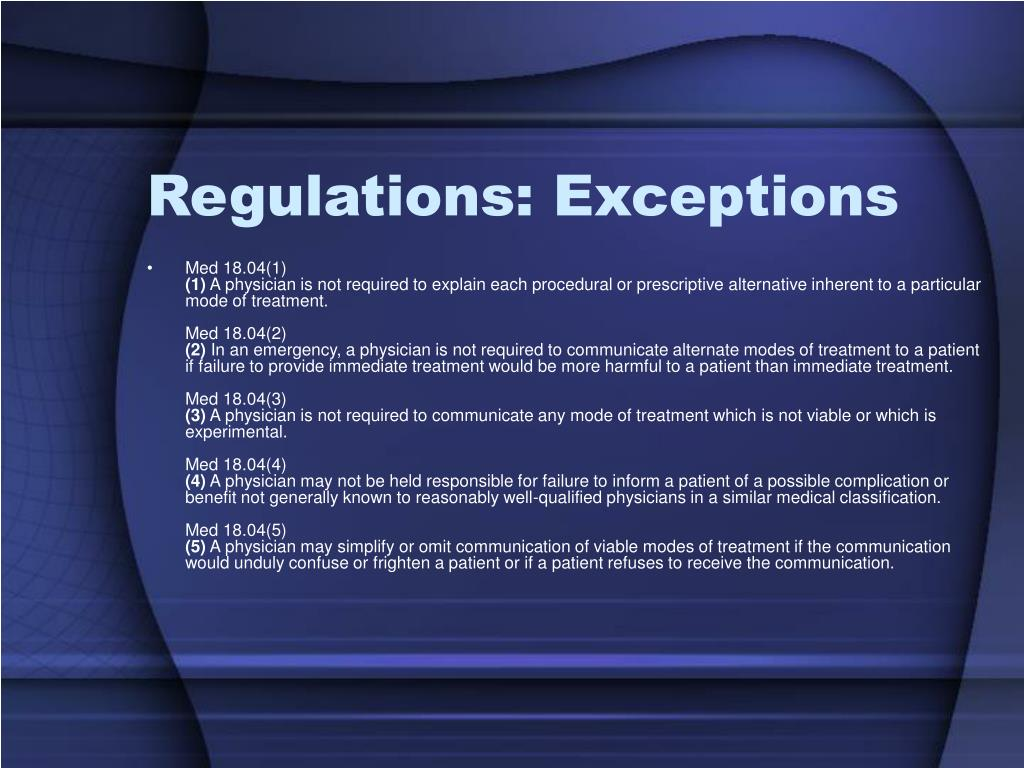 Regulations: Exceptions