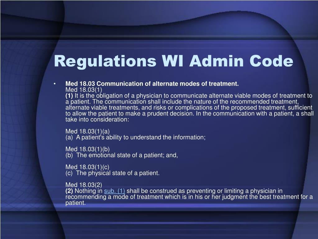 Regulations WI Admin Code